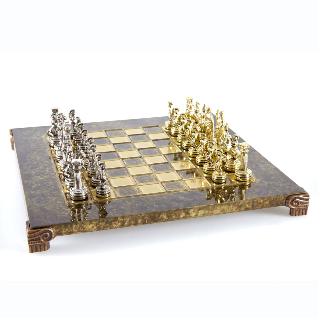 Handcrafted Metallic Chess - Chess Set - Greek Roman Period (Small) - Gold/Silver brown
