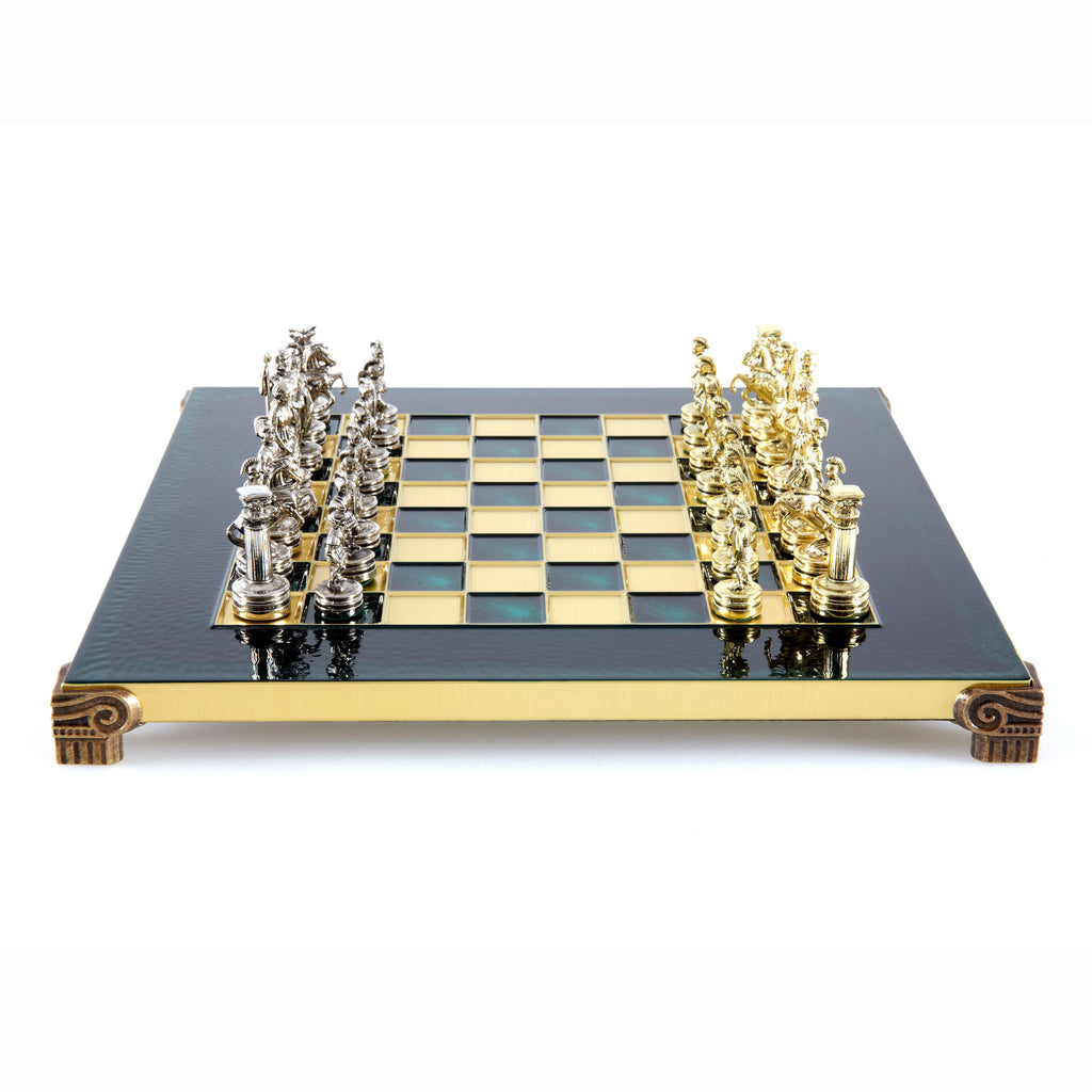 Handcrafted Metallic Chess - Chess Set - Greek Roman Period (Small) - Gold/Silver green