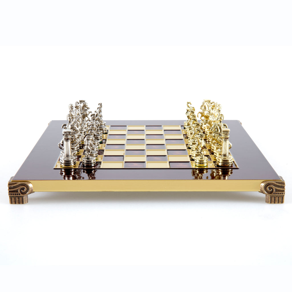 Handcrafted Metallic Chess - Chess Set - Greek Roman Period (Small) - Gold/Silver red