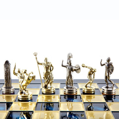 Handcrafted Metallic Chess - Chess Set - Discus Thrower (Medium) - Gold/Silver blue
