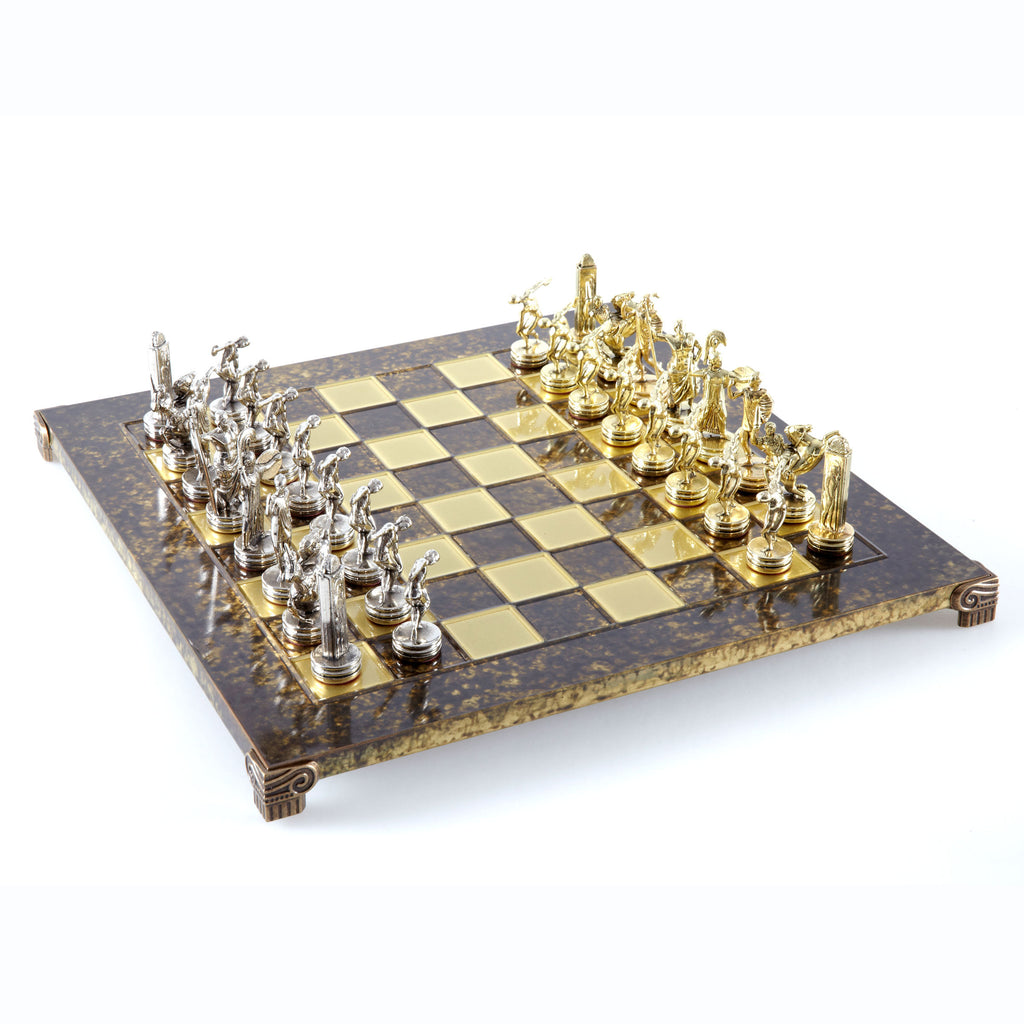 Handcrafted Metallic Chess - Chess Set - Discus Thrower (Medium) - Gold/Silver brown