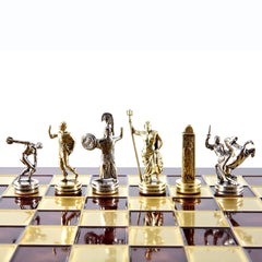 Handcrafted Metallic Chess - Chess Set - Discus Thrower (Medium) - Gold/Silver red