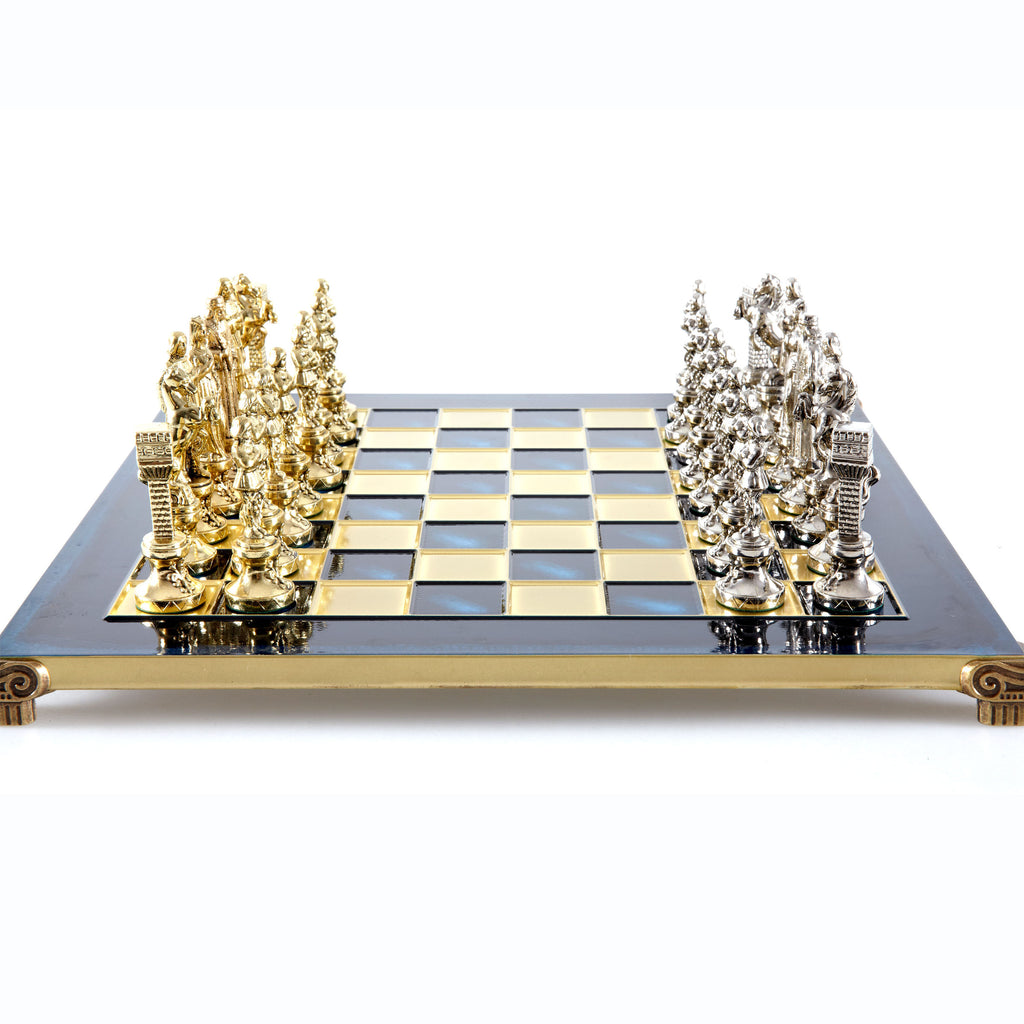 Handcrafted Metallic Chess - Chess Set - Renaissance (Medium) - Gold/Silver blue