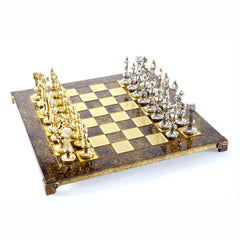 Handcrafted Metallic Chess - Chess Set - Renaissance (Medium) - Gold/Silver brown