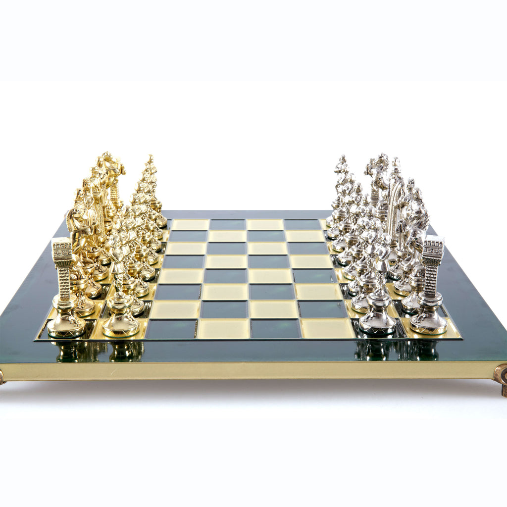 Handcrafted Metallic Chess - Chess Set - Renaissance (Medium) - Gold/Silver green