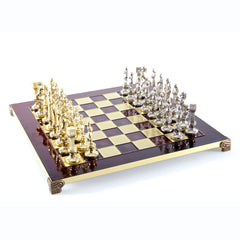 Handcrafted Metallic Chess - Chess Set - Renaissance (Medium) - Gold/Silver red