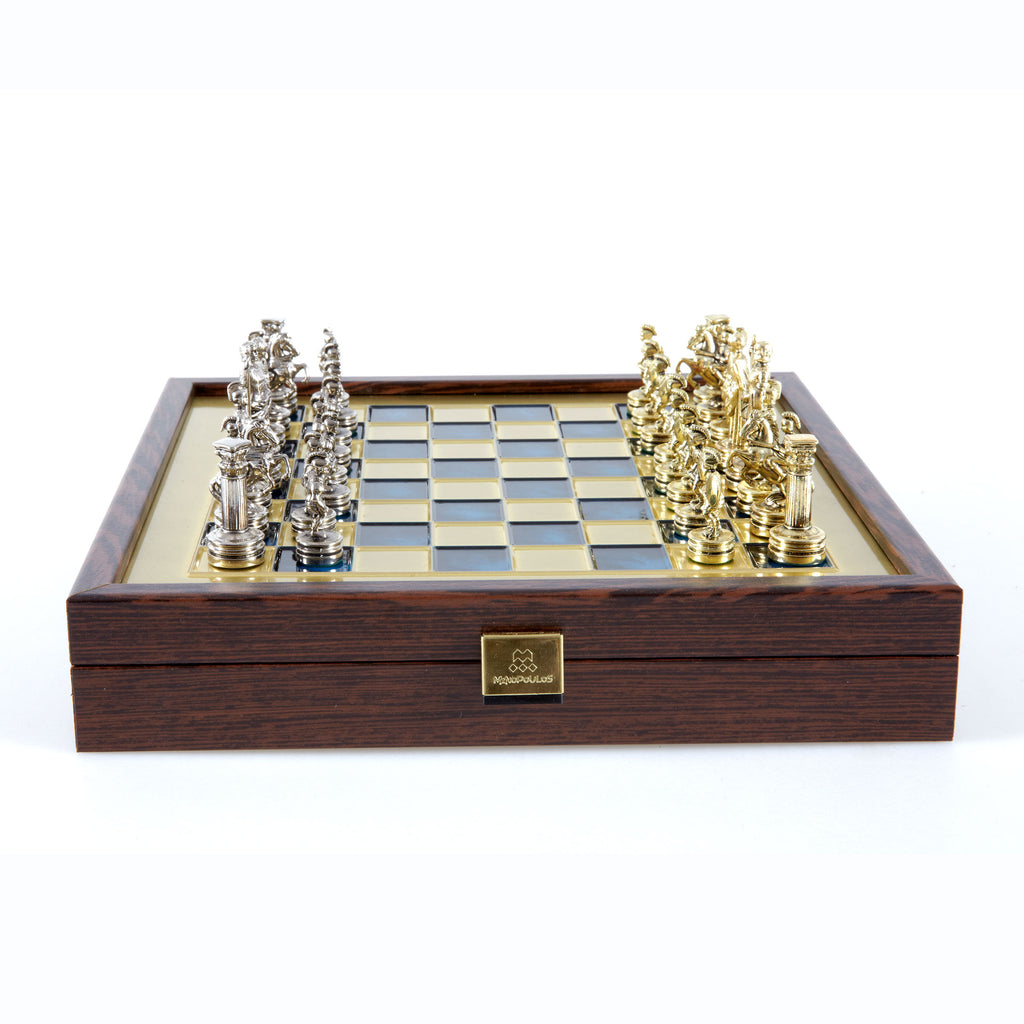GREEK ROMAN PERIOD CHESS SET in wooden box with gold/silver chessmen and bronze chessboard blue