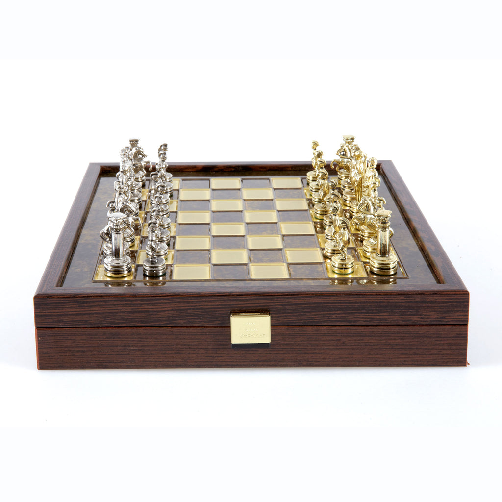GREEK ROMAN PERIOD CHESS SET in wooden box with gold/silver chessmen and bronze chessboard brown