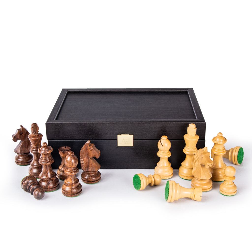 WENGE WOODEN STORAGE CASE FOR CHESSMEN - 8.5cm - 9.5cm King