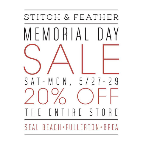 Stitch and Feather Memorial Day Sale! 20% Off Storewide