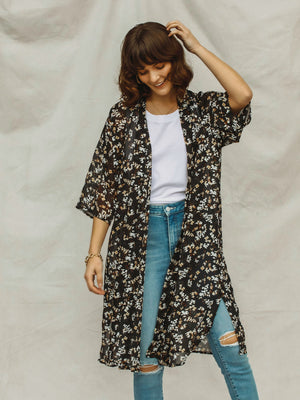 Raven Floral Kimono - Stitch And Feather