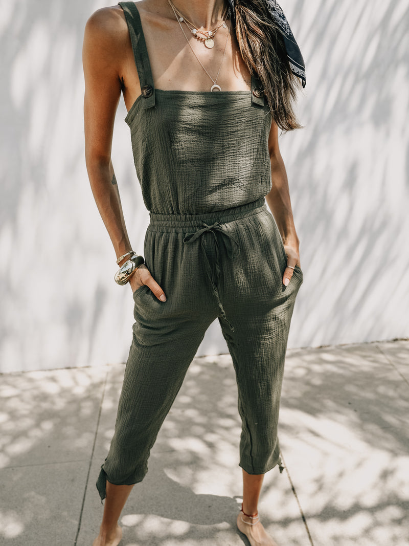Buttoned Up Gauze Jumpsuit in Olive