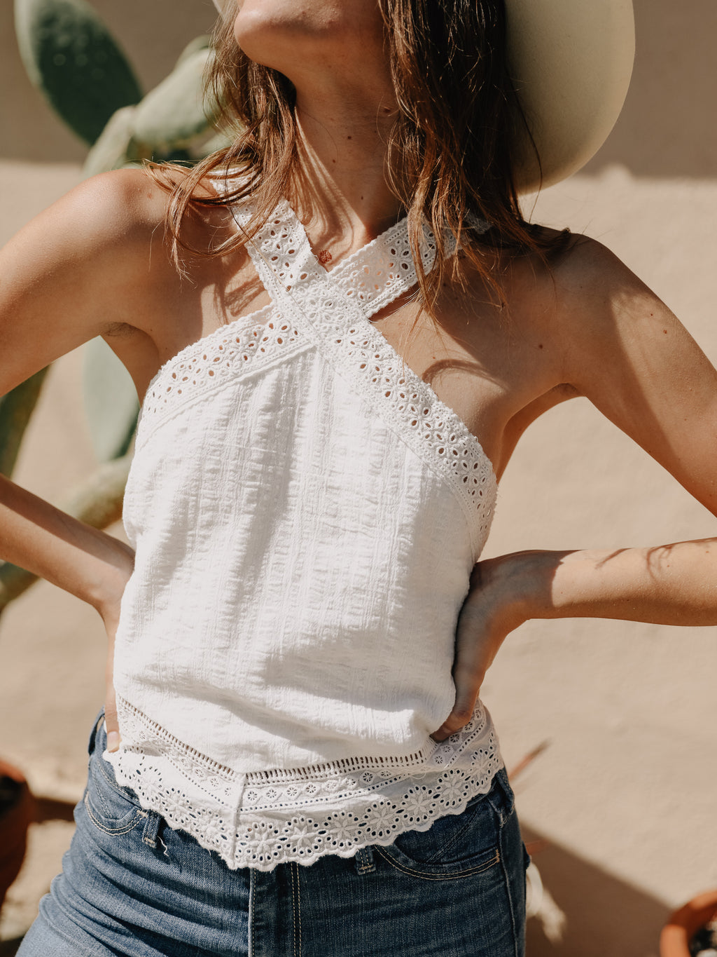 Cross Halter Eyelet Top - Stitch And Feather
