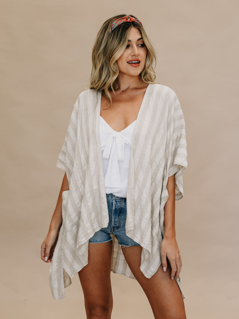 Side Slit Kimono - Stitch And Feather