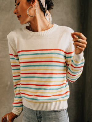Seeing Stripes Crew Sweater - Stitch And Feather