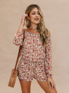 Long-sleeve Floral Romper - Stitch And Feather