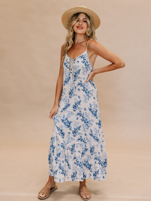 Baby Blues Lace Up Maxi - Stitch And Feather