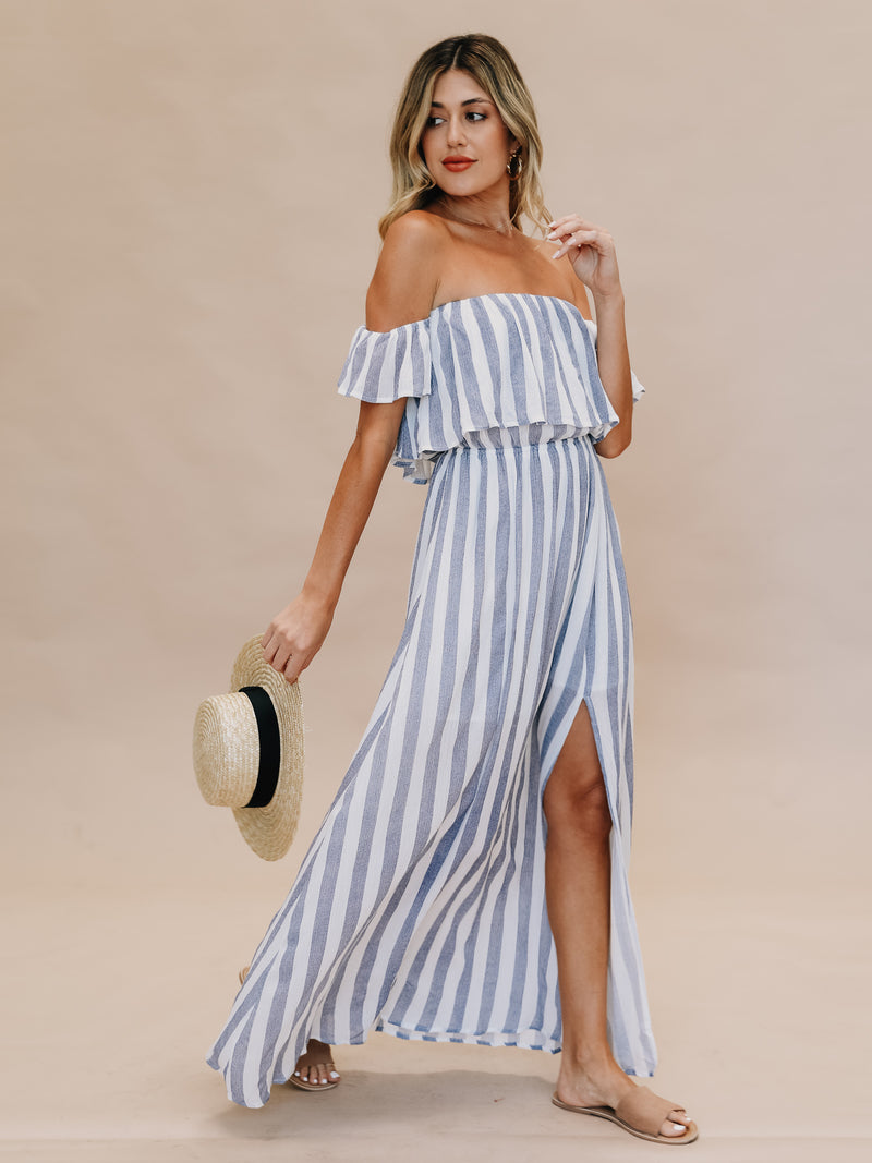 Cabana Stripe Maxi Dress in Cornflower - Stitch And Feather