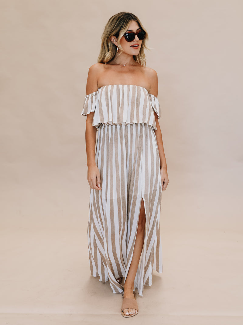 Cabana Stripe Maxi Dress in Camel - Stitch And Feather