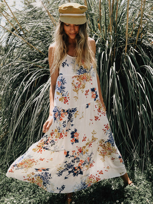 Tier Maxi Dress in Cherry Blossom - Stitch And Feather
