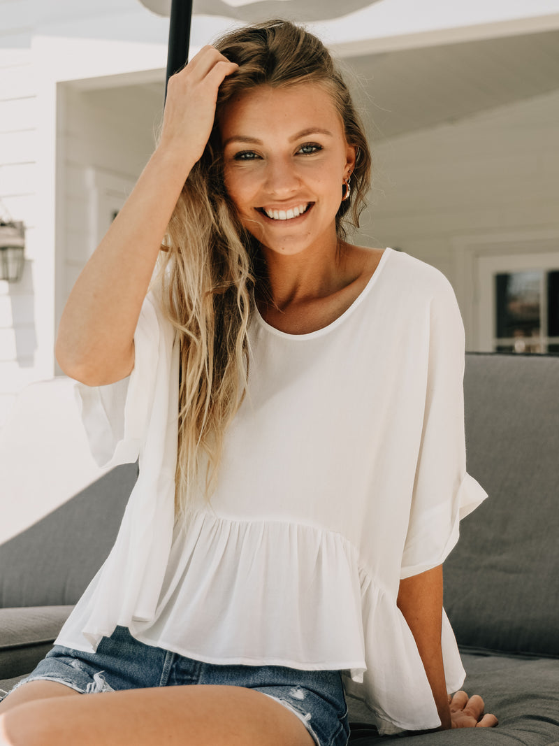 Ruffle-Hem Top in White - Stitch And Feather