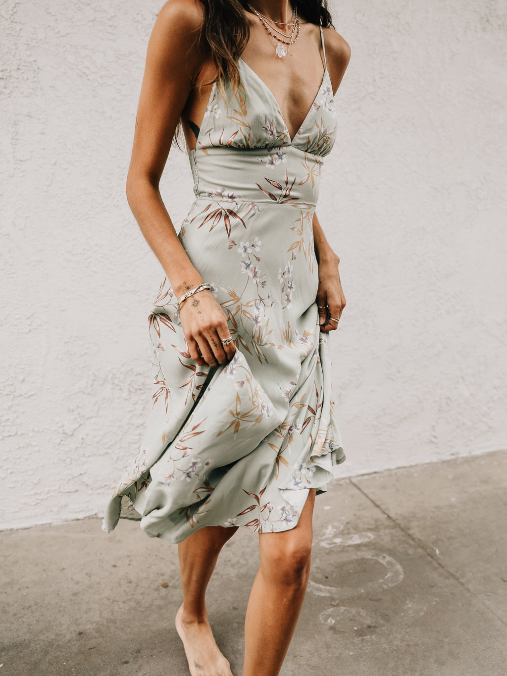 Parlor Palm Midi Dress in Sage - Stitch And Feather