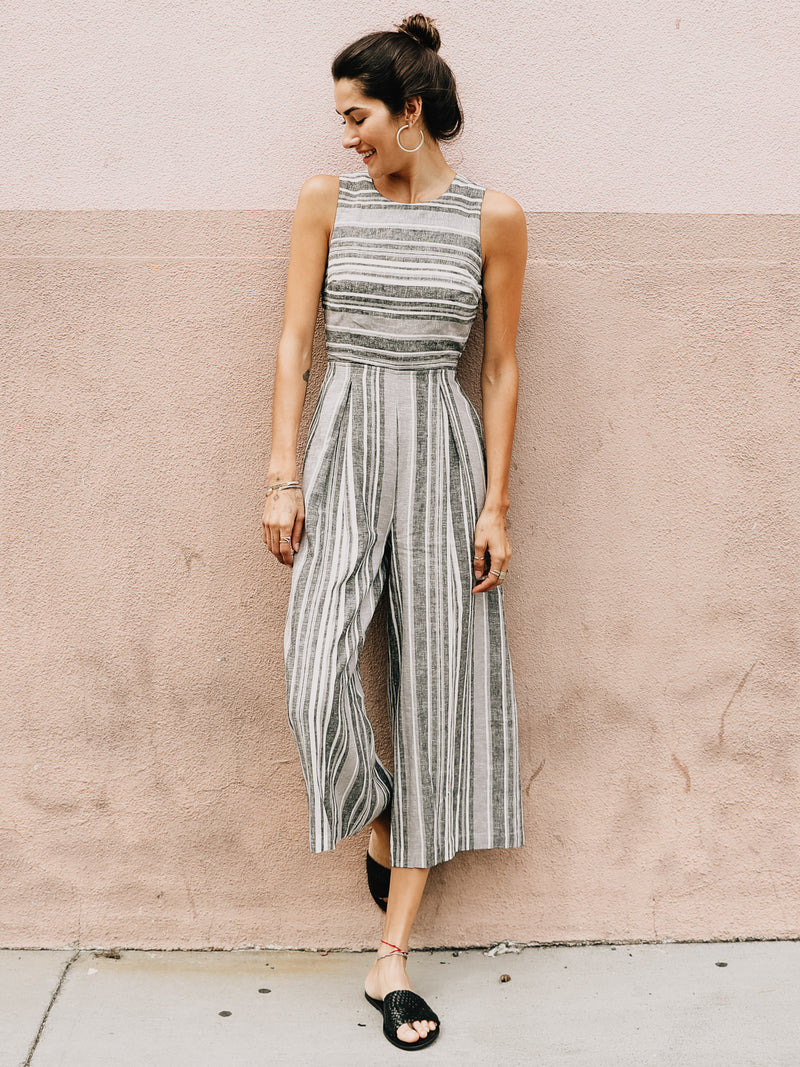 Earn Your Stripes Linen Jumpsuit - Stitch And Feather