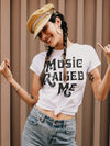 Music Raised Me Tee in White - Stitch And Feather