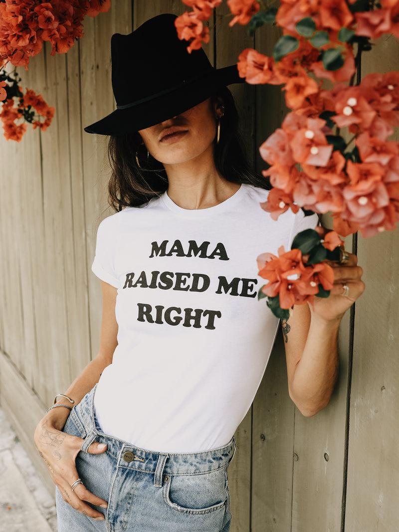 Mama Raised Me Right Tee in White - Stitch And Feather
