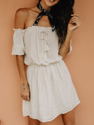 Eyelet Embroidered Mini Dress - Stitch And Feather
