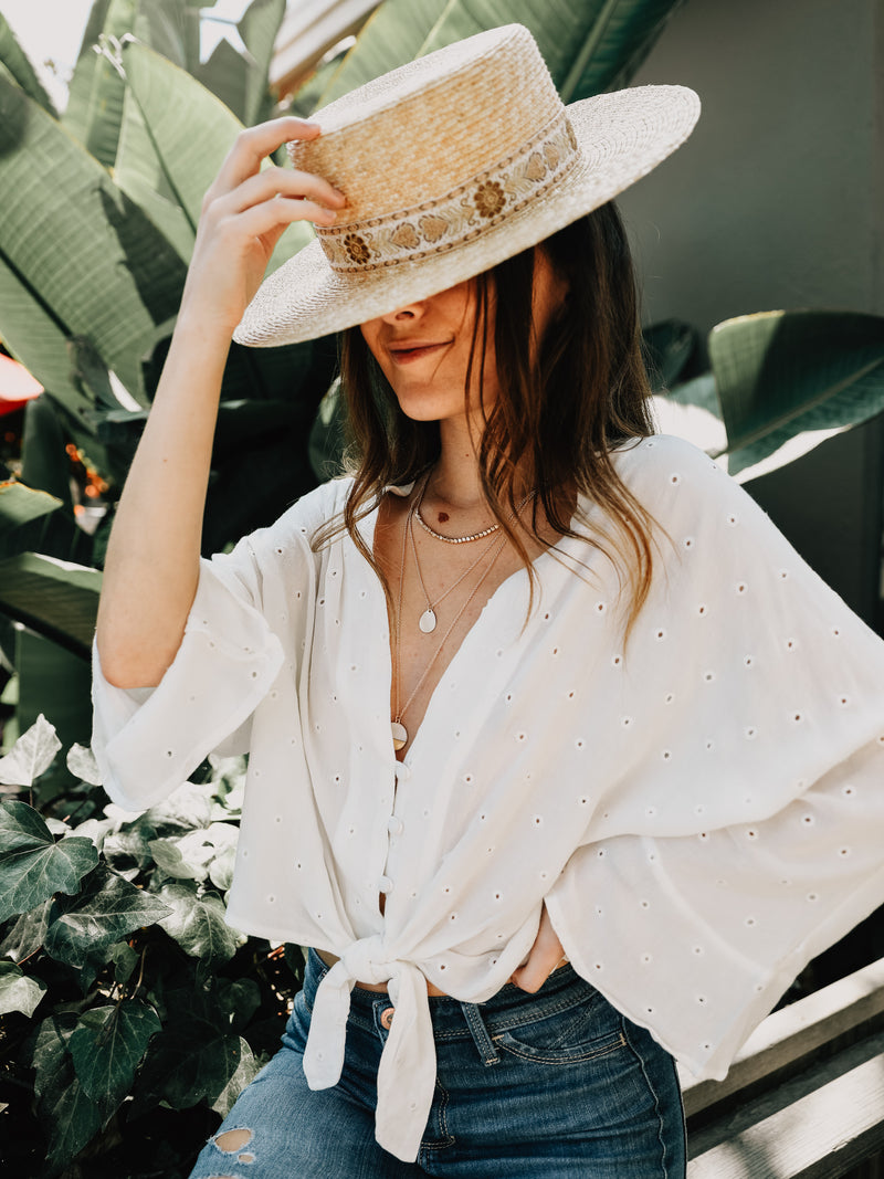 Eyelet Kimono Button Top - Stitch And Feather
