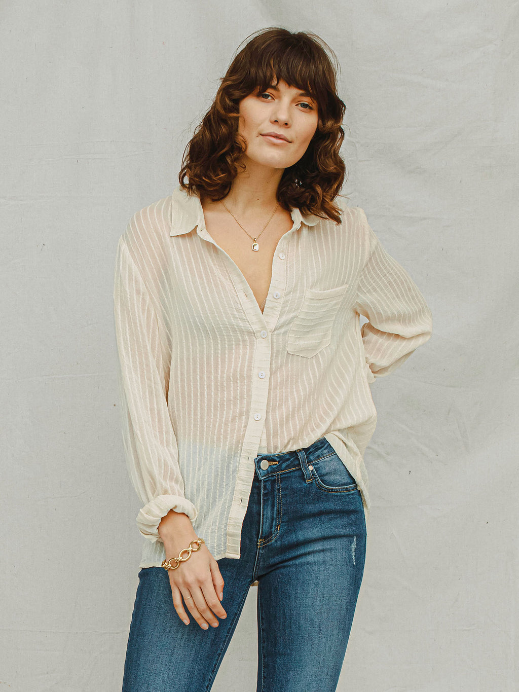 Take It Easy Button Up - Stitch And Feather