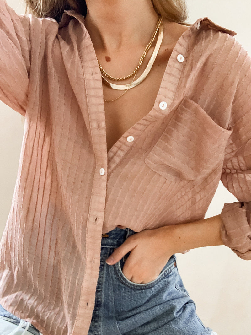 Take It Easy Button Up in Mauve - Stitch And Feather