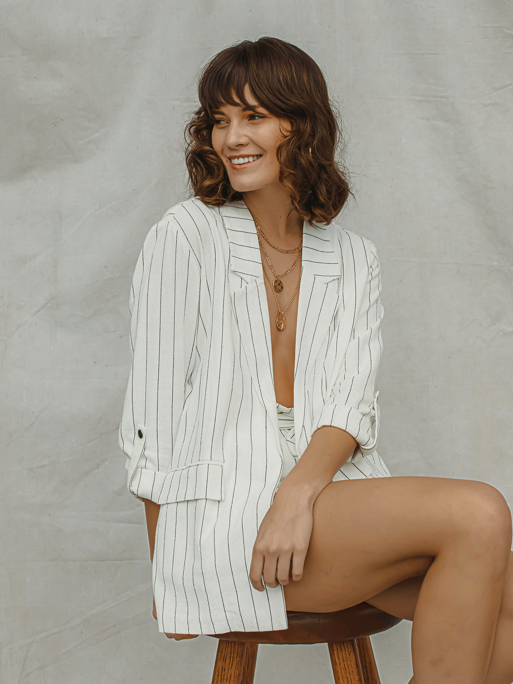In Stripes Blazer - Stitch And Feather