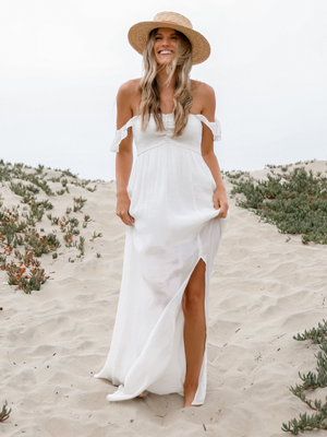 West Coast Maxi Dress in White - Stitch And Feather