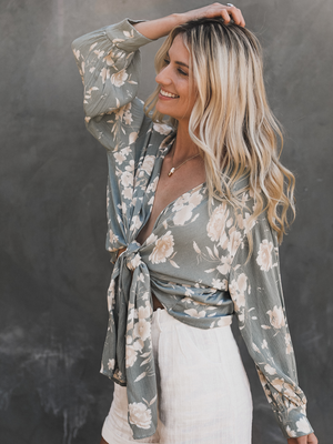 California Dreamin' Blouse in Sage - Stitch And Feather