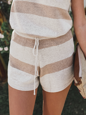 Logan Striped Shorts in Taupe - Stitch And Feather