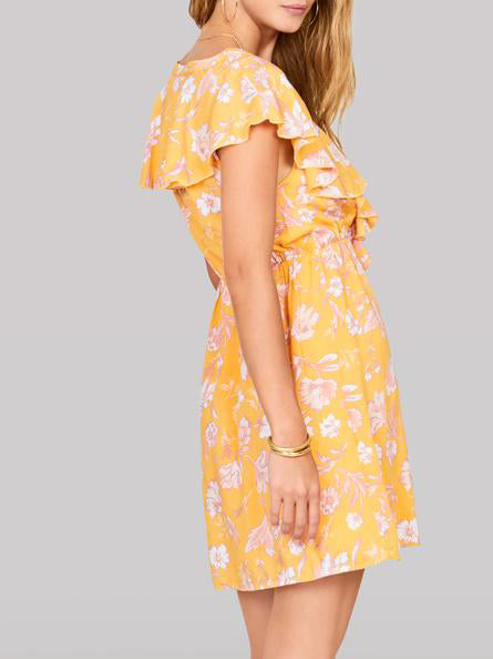 spring, summer, dress, yellow, frills, ruffle, floral, printed,