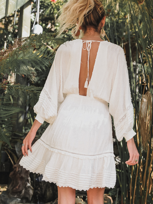Golden Hour Mini Dress in White - Stitch And Feather