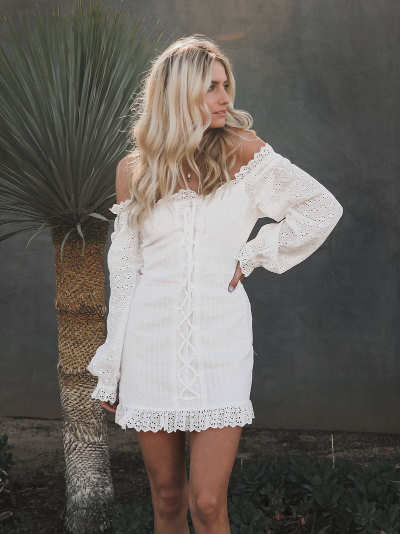 Paloma Eyelet Mini Dress - Stitch And Feather