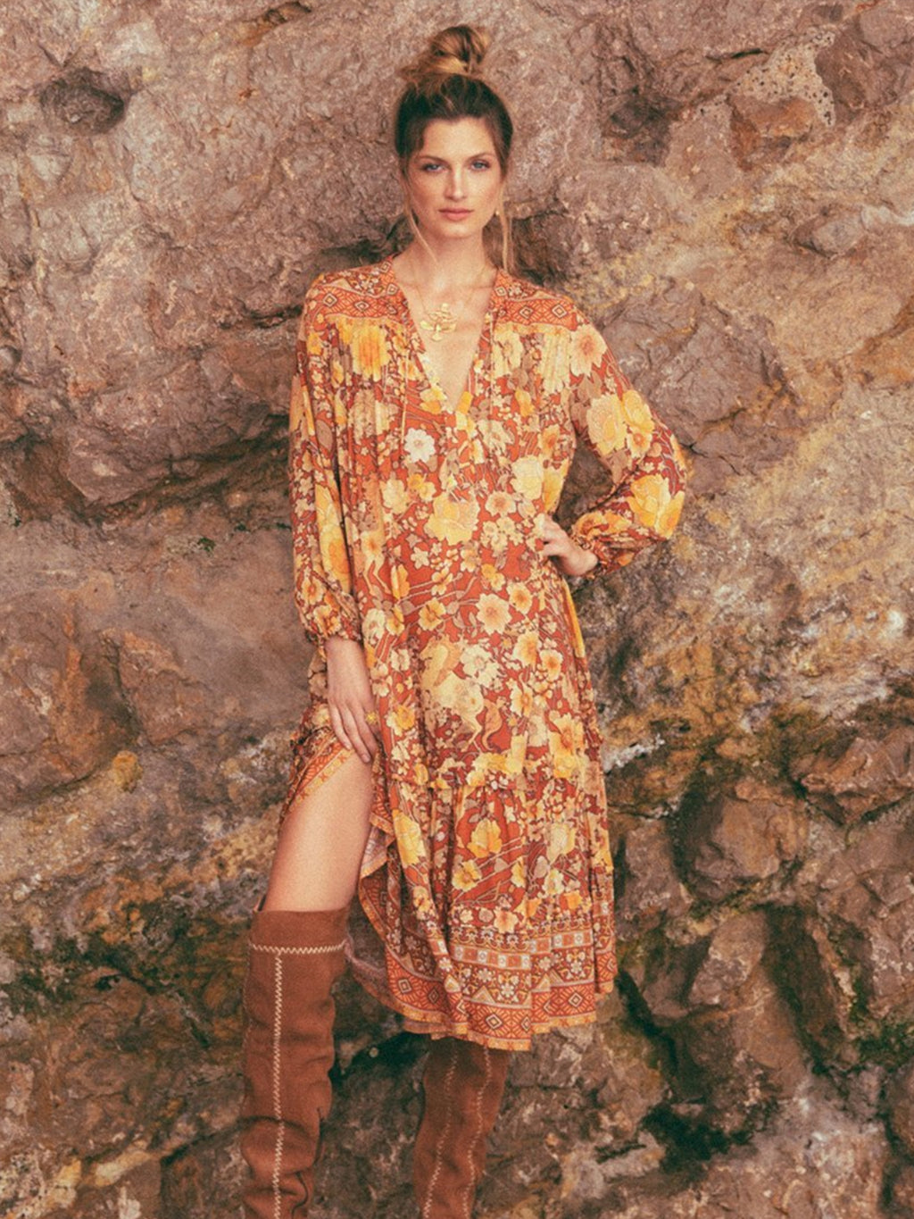 Amethyst Boho Dress in Amber - Stitch And Feather