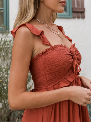 Terracotta Tiered Mini Dress - Stitch And Feather