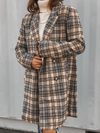 Double Breasted Plaid Coat in Taupe - Stitch And Feather