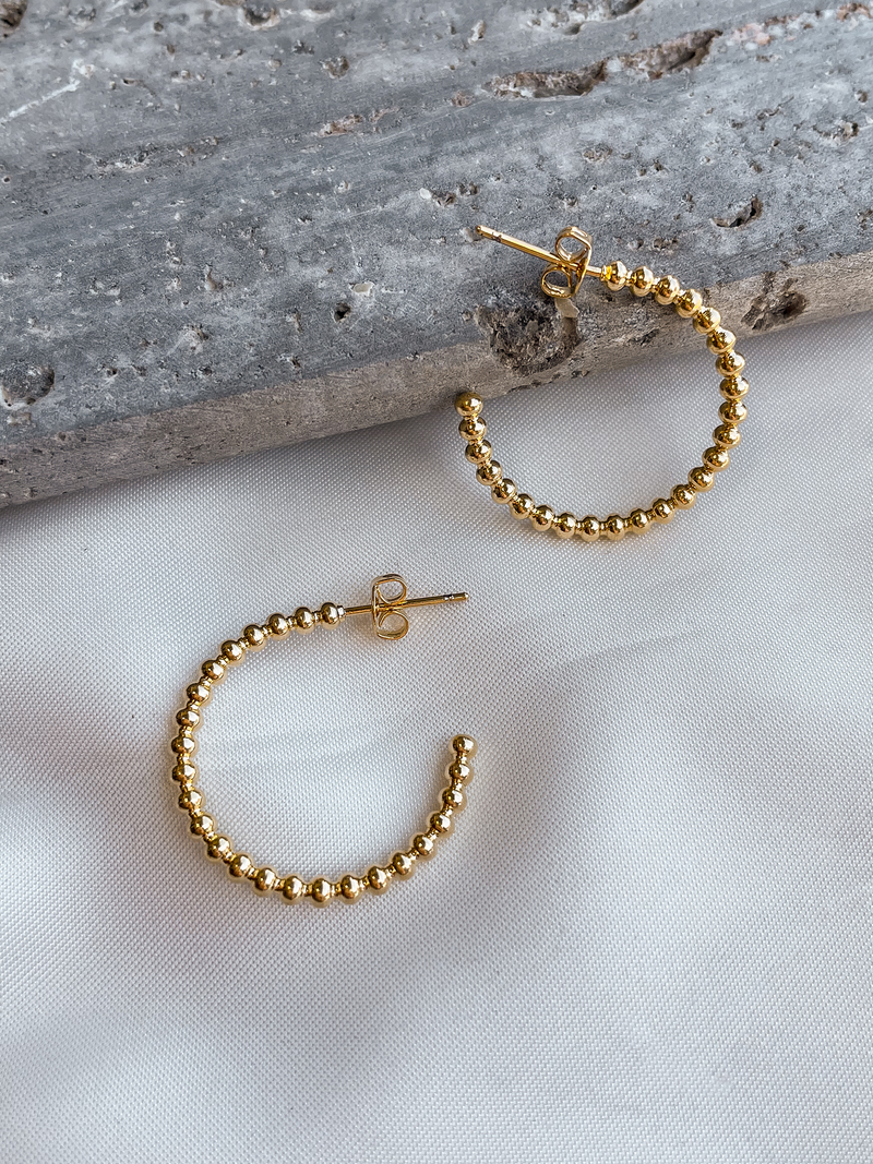 Gold Studded Hoops