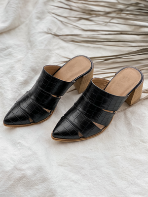 Stephanie Cut Out Mule in Black - Stitch And Feather