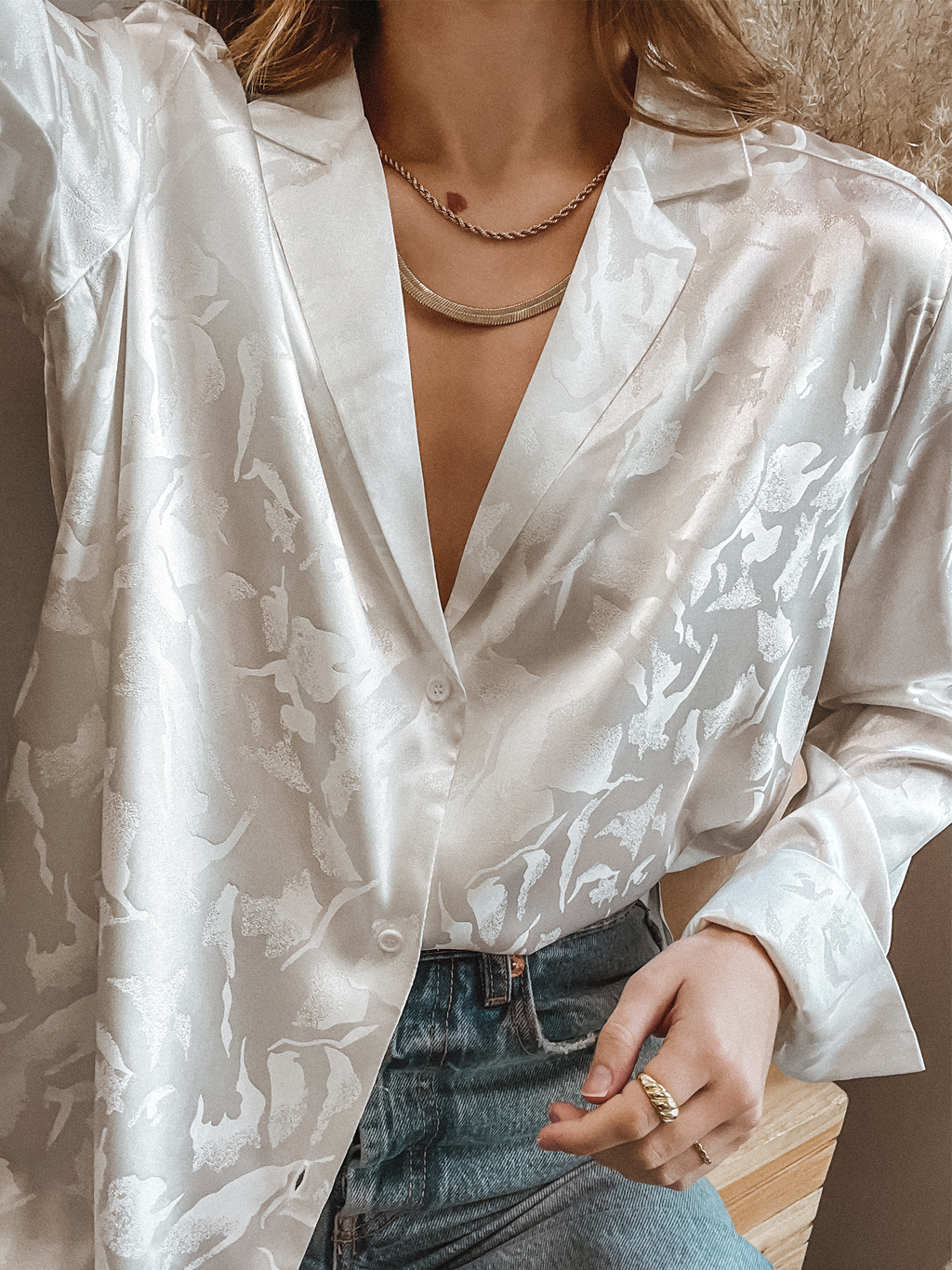 No Limit Button Down Top in White - Stitch And Feather