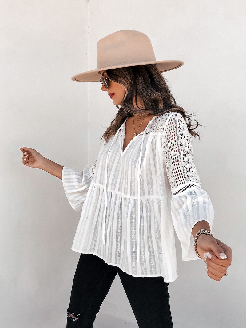 Lace Sleeve Boho Top - Stitch And Feather