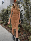 Top Notch Midi Dress in Cognac - Stitch And Feather