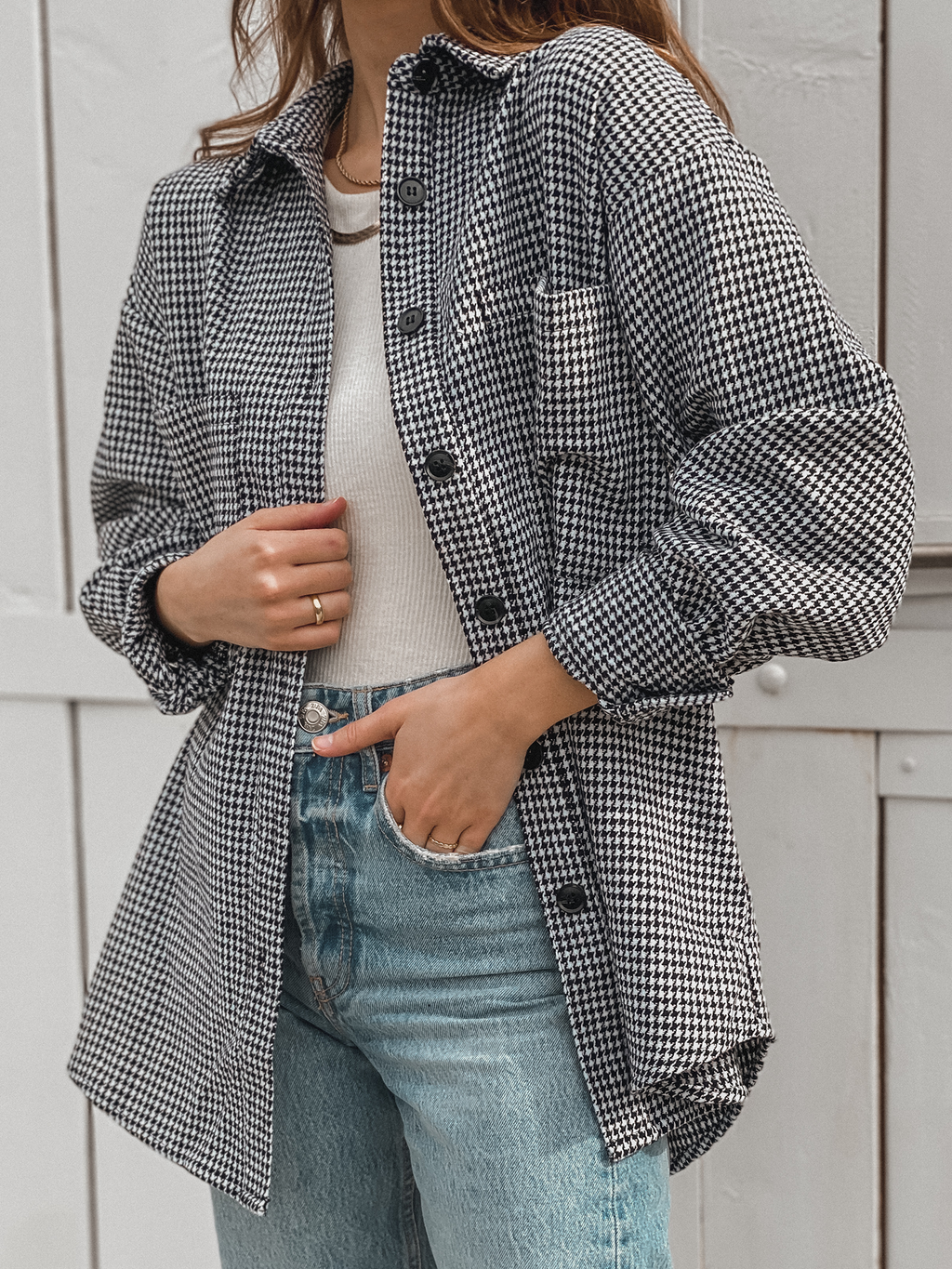 Houndstooth Shacket - Stitch And Feather
