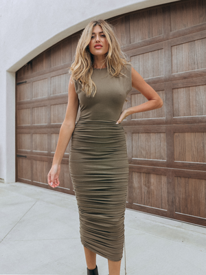 Shoulder Pad Midi Dress in Olive - Stitch And Feather